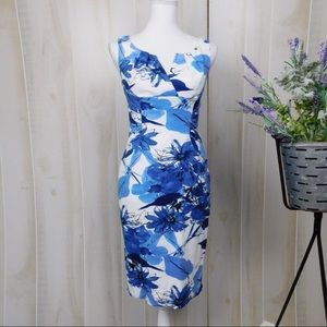 Adrianna Papell Blue & White Floral Fitted Dress